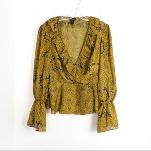 Brown boho wrap peplum ruffle paisley hippie cute